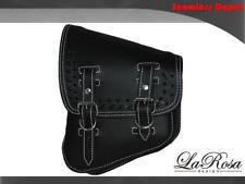 La Rosa V Rod Night Rod Special Black Leather White Stitch Cross Lace Saddlebag