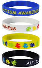 Autism Awareness Silicone Wristbands Adult Size (4 Pack)