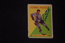 HOF PIERRE PILOTE 1958-59 TOPPS SIGNED AUTOGRAPHED CARD #36 BLACK HAWKS