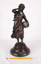 """L&F Moreau Bronze Sculpture, """"Chanteur Des Rues"""" (Street Singer), 15"""" tall"""