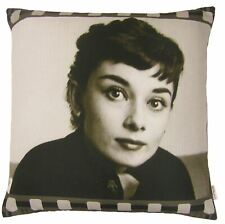 "FILLED FILM MOVIE STAR AUDREY HEPBURN PHOTOGRAPHIC CUSHION BLACK 17"" - 43CM"