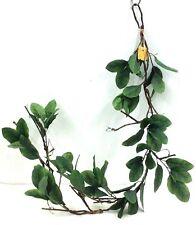 Laurel Leaf Greenery Wired Garland. 5 ft. Long. Silk. Green, Brown Stems.