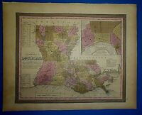 1849 S A Mitchell New Universal Atlas Map ~ LOUISIANA NEW ORLEANS Old Authentic