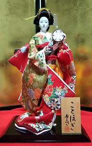 "MINT Antique Japanese Geisha Doll in Kimono 17"" 44cm wooden base Vintage SILK"