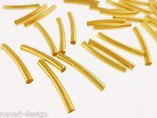 50 Metallperlen RÖHRCHEN gebogen 15x2mm goldfarbig Perlen nenad-design AN253
