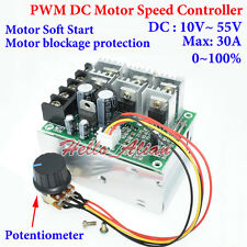 DC 10-55V 12V 24V 48V 30A PWM DC Motor Speed Controller Motor Soft Start Switch