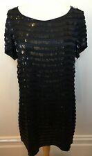 FRENCH CONNECTION Navy Blue Heavy Sequinned Short Sleeve Shift Cocktail Dress 12