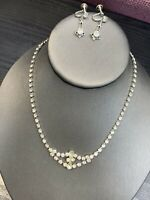 1950's Clear Rhinestones Vintage Necklace  Earring Set Wedding Flower Girl 14""