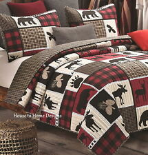 LODGE LIFE Full Queen QUILT SET : BLACK BEAR PAW MOOSE CABIN RED BUFFALO CHECK