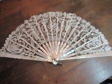 Old Hand Fan, Mother-of-Pearl Struts W. Bobbin & Pointe De Gaze Lace