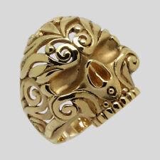 Mexican Sugar Skull 14K Gold Ring Biker Memento Mori Handmade Size 10 UNIQABLE