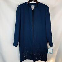 Leslie Fay Women's Petite Jacket Blazer Coat Size 8P Long blue Sequins Beads NWT