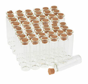 VBS 48er-Pack Glasfläschchen mit Korken 20ml 7cm hoch Klar Glas Flaschen
