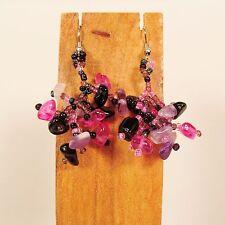 "1 1/2"" Drop Style Pink Purple Color Stone Chip Handmade Dangle Seed Bead Earring"