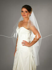 "Illusions Bridal Veils -Two Layer - 45"" Fingertip Length - Raw Edge - PALE IVORY"