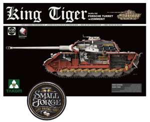 Takom 2046S. KING TIGER WWII Tank. Porsche Turret with Zimmerit. Scale 1:35 NEW