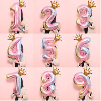 32 inch Crown Number Foil Balloon Digit Ballon Happy Birthday Party Decor Well