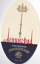 Russia Leningrad Intourist Hotel Europa Vintage Luggage Label sk1500