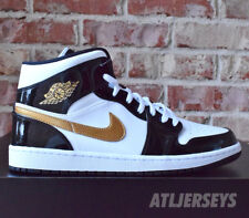 Nike Air Jordan 1 Mid SE Size 11 Metallic Black and Gold Patent Leather 04baac4626