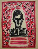 Russian Ukrainian Soviet gouache drawings portrait soldier WW2 poster sketch