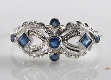 """Divine 9K 9CT Oro Blanco Azul Zafiro Art Deco INS """"máscara"""" sin cambiar el tamaño de anillo"""