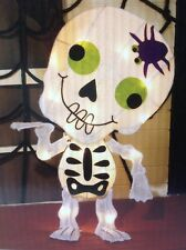 "Halloween Light Up Skeleton with Spider Indoor Outdoor with 20 Lights 22"" Tall"