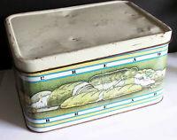 """Vintage Original Tin Metal Hinged Bread Box 13.75"""" long Retro FREE SH"""
