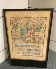 Antique 19th. Century Needlepoint Cross-stitch 14�x11� The Lord Is My Shepherd