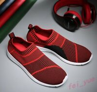 Mens Stripes Breathable Baseball Casual Shoes Slip on Low Top Sneakers Loafers