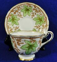 Antique/Vtg ROYAL CHELSEA 24k Gold Trim GREEN LEAVES Tea Cup & Saucer Set