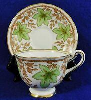 Antique/Vtg ROYAL CHELSEA 24k Gold Trim GREEN LEAVES Tea Cup & Saucer Set