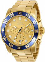 Invicta Men's Pro Diver Chronograph 100m Gold Tone Stainless Steel  Watch 22227