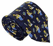 The simpsons-homme 100% soie 10cm homer simpson nouveauté bleu marine cravate cravatte
