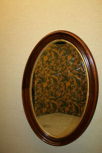 19th Century Victorian Oval Walnut Mirror