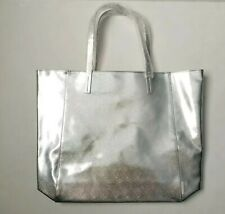 Clinique Silver Metallic Faux Leather Cosmetic Large Tote Bag w/green lining