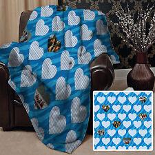 personnalisé cœur bleu photo design polaire Doux Couverture Housse