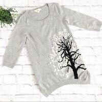 Anthropologie Button Tree Tunic Sweater XS gray