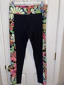 Trina Turk Recreation Leggings Black and Bright Floral Print Size Large