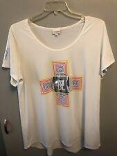 LuLaRoe Women's T-Shirt White with Multicolor Design Size 2XL~Free Ship!