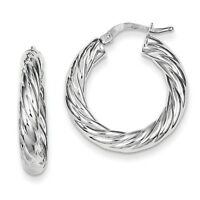 925 Sterling Silver Polished Twisted Hinged Post Hoop Earrings