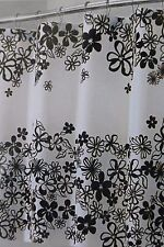 "InterDesign Fiore Black & White Fabric Shower Curtain 72"" x 72"" NIP"