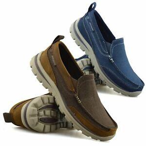 Mens Skechers Slip On Leather Memory Foam Walking Loafers Moccasin Shoes Size