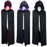 Colors Vampire Assassin Velvet Hooded Cloak Cape Cosplay Halloween Fancy Costume