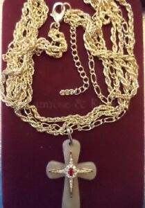 Jackie Kennedy Simulated Ruby & Brazilian Agate Cross with 3 Chain Necklace NEW