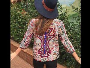 Zara Blogger's Favourite Embroidered Jacket S 8 10 Bohemian Hippie Boho Tapestry
