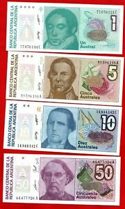 4 X ARGENTINA BANKNOTES IN MINT CONDITION. 1 5 10 & 50 AUSTRALES NOTES.