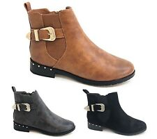 New Women Lady Flat Low Studded Classic Work Chelsea Ankle Boots IN BLACK