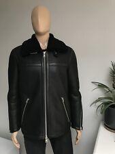 All Saints Men's Shearling Sheepskin Leather Aviator Jacket Black Size Medium M