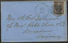 1882 Cover from Md to Family of  General J G Barnard forwarded to Dresden Ger.
