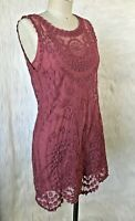 FREE PEOPLE Mauve Pink Embroidered Sleeveless Mini Dress Small S